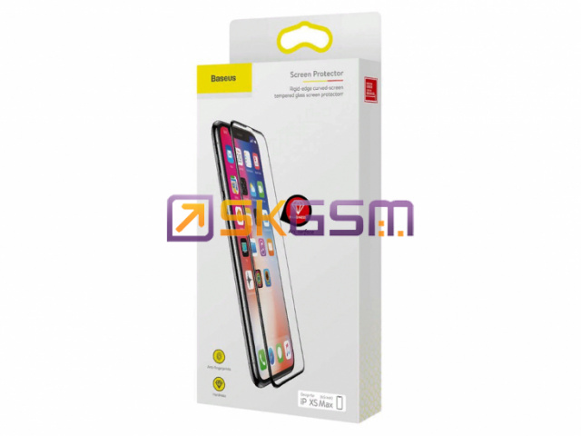 BASEUS - Tempered glass Rigid-edge curved (бронестекло) 0.2mm iPh XS Max, Оригинал в упаковке (цвет:Black)