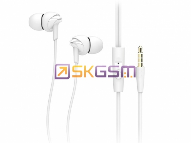 ROCK Y1 Stereo Earphone - Стерео гарнитура с аудио контролем длина 1.2м  (цвет:White), Оригинал